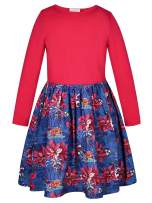 Bonny Billy Girl's Long Sleeve Solid Top and Poinsettia Print Skirt Dress Size 10-12 Red