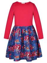 Bonny Billy Girl's Long Sleeve Solid Top and Poinsettia Print Skirt Dress Size 5-6 Red