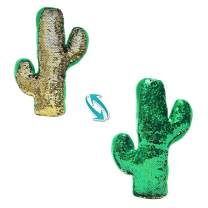 AIXINI Reversible Flip Sequin Cactus Plant Stuffed Plush Toy, 24 Inch Cute Soft Pillow Doll with Magical Sparkle Green to Gold, Gift Kids Babies Birthday Party Home Decor