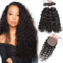 10A Water Wave Bundles with Closure (22 24 26 +18) Wet and Wavy Brazilian Virgin Human Hair 3 Bundles with 4x4 Lace Closure with Baby Hair Free Part 1B# Curly Wave Human Hair Extensions
