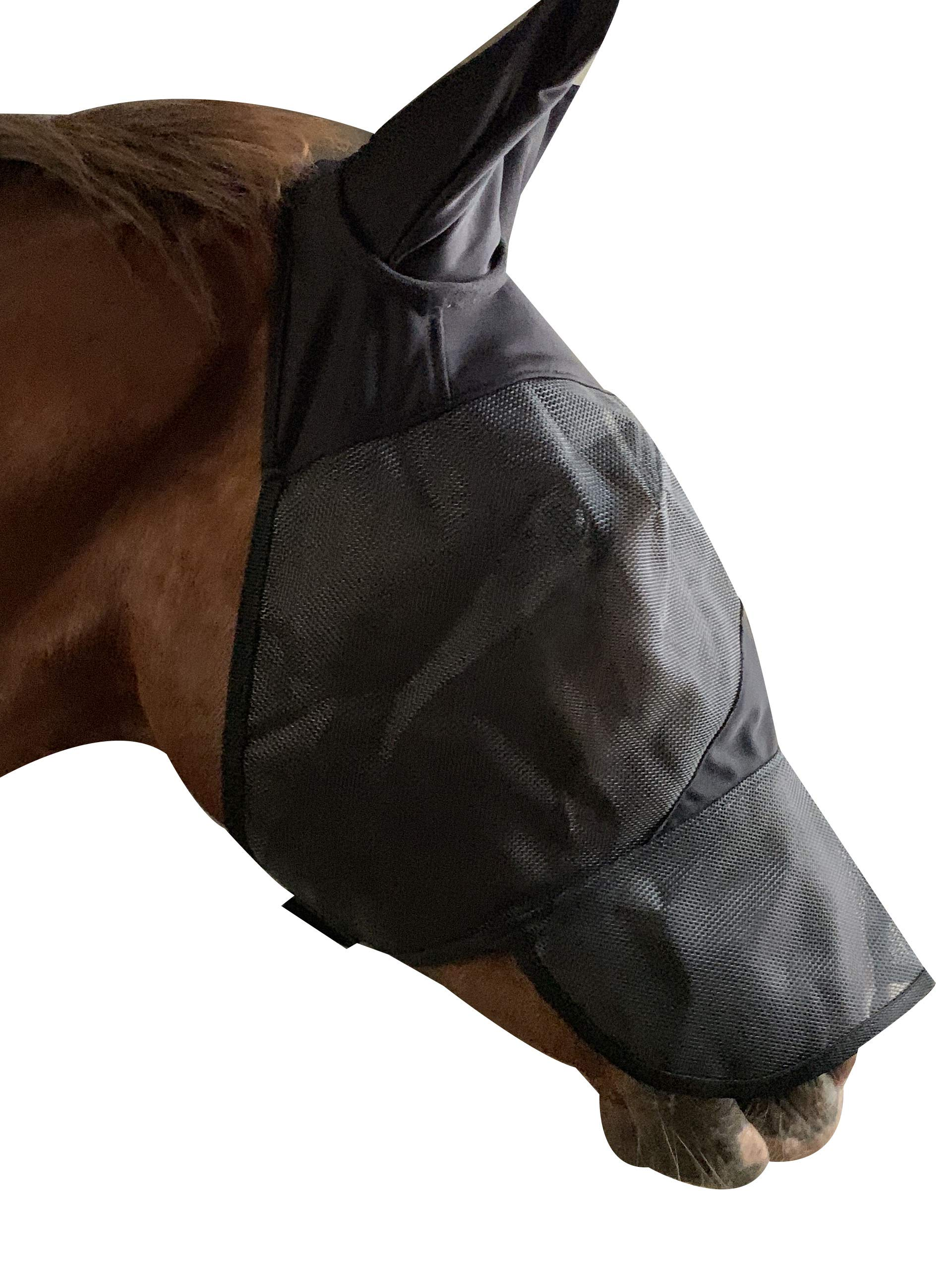 TGW RIDING Horse Fly Mask Full Face Fly Mask with Ears and Long Nose