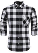 Emiqude Men's 100% Cotton Slim Fit Long Sleeve Button-Down Plaid Dress Shirt Small Black White