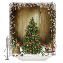 FAMILYDECOR Shower Curtain Christmas Tree Childrens Gifts and White Snowflake Holiday Decor Prints Shower Curtain with Hooks Waterproof Polyester Fabric for Bathroom Decor 60x72 inches