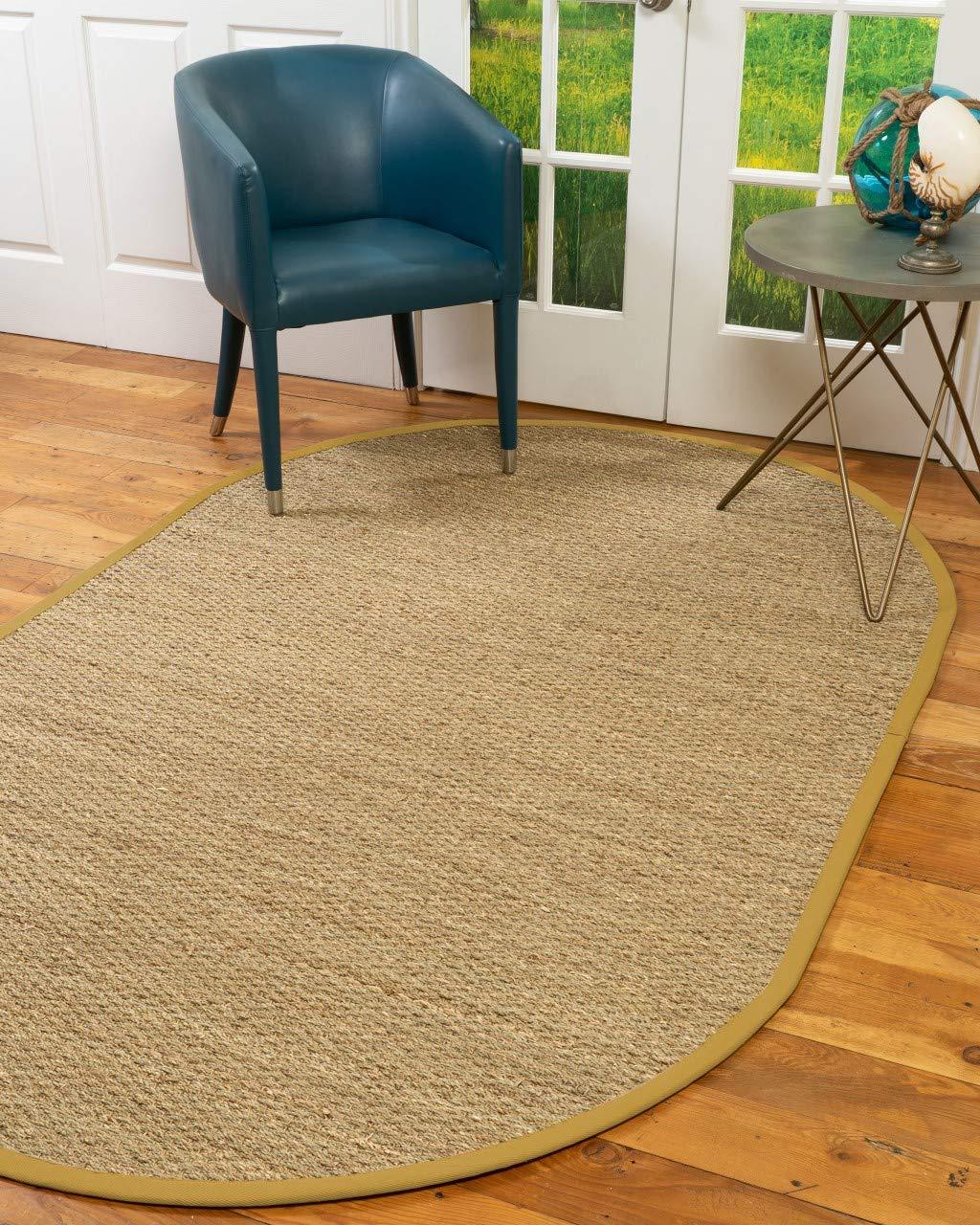 NaturalAreaRugs 100%, Natural Fiber Handmade Half Panama, Seagrass Rug, 5' x 8' Oval Tan Border