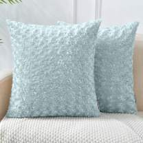 LHKIS Throw Pillow Covers 18x18, Gray Decorative Pillow Case Cushion Cover with Luxury Soft Faux Fur Flower Pattern for Couch Sofa, Set of 2