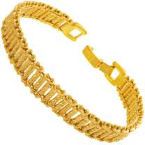 LIFETIME JEWELRY 10mm Riccio Bar Bracelet 24k Real Gold Plated for Women and Men with Free Lifetime Replacement Guarantee