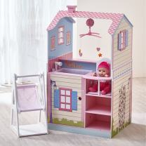 Olivia's Little World - All in One 16-18 inch Baby Doll Wooden Nursery Center - Double Sided Dollhouse for Baby Dolls with Swings - Multi- Functional Changing Station - Pink & Blue