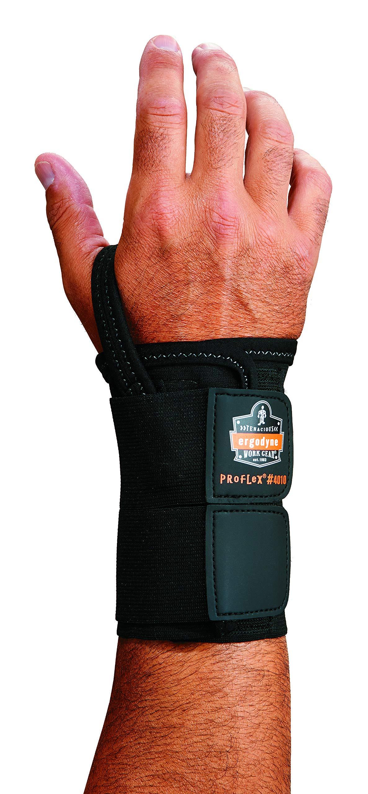 Ergodyne ProFlex 4010 Double-Strap Right Wrist Support, Black, Small