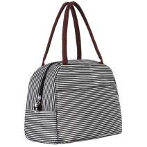 """CHICHIC Reusable Insulated Lunch Box adult Lunch Bags for women,Cooler Bag for work,with Leakproof Interior Oxford, 11"""" x 6.5"""" x 8.66"""", Striped"""