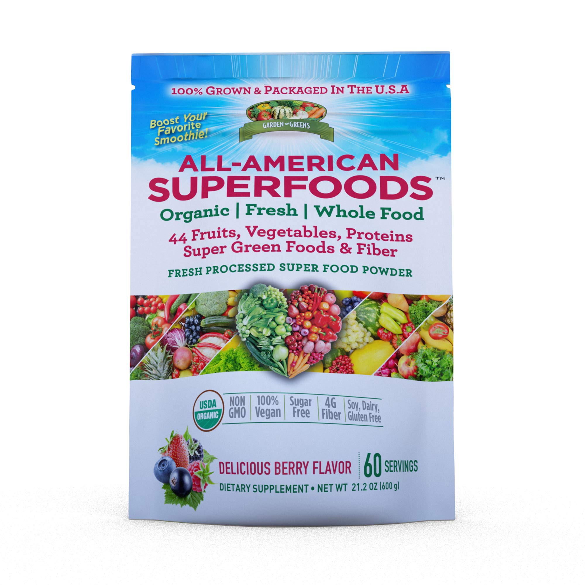 Garden Greens All-American Superfoods 44-Plant Supplement Powder, Protein, Fiber, Berry Flavor, 60 Servings Packaging May Vary