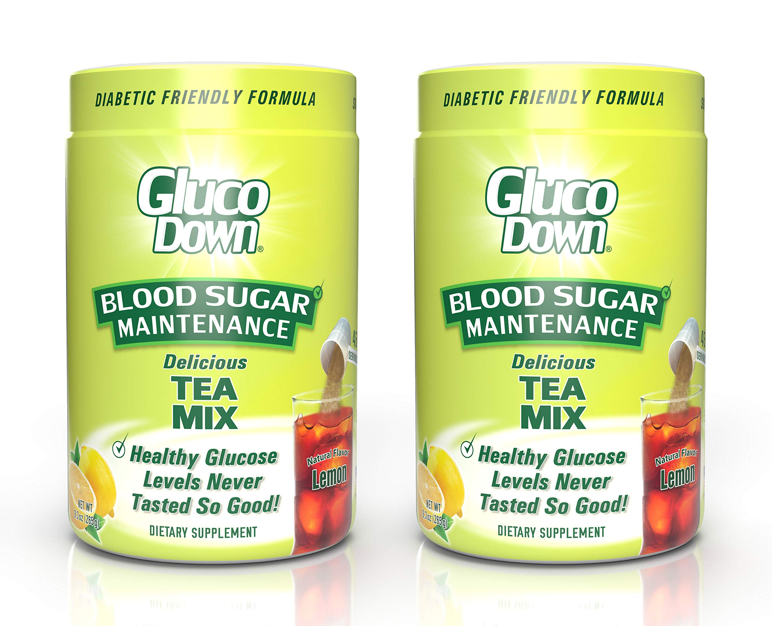 2-Pack, GlucoDown Diabetic Friendly Beverage, Maintain Healthy Blood Sugar, Delicious Lemon Tea (Two 45-Serving Containers)