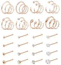 Jstyle 40Pcs C-Shaped Nose Ring Hoop for Mens Women Bone-Shaped Nose Studs Stainless Steel Nose Piercing Cartilage Tragus Piercing Jewery