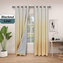 """Central Park Ombre 85% Blackout Room Darkening Window Curtains for Bedroom Heavy Linen Texture 8 Grommets Gradient Print Cream White to Yellow/Light Gold Curtain for Living Room 50"""" x 95"""", 1 Piece"""