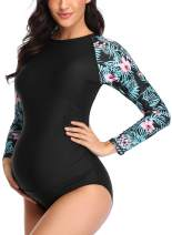 EastElegant Maternity One Piece Swimwear Long Sleeved Rash Guard with Zipper Full Covered Suit