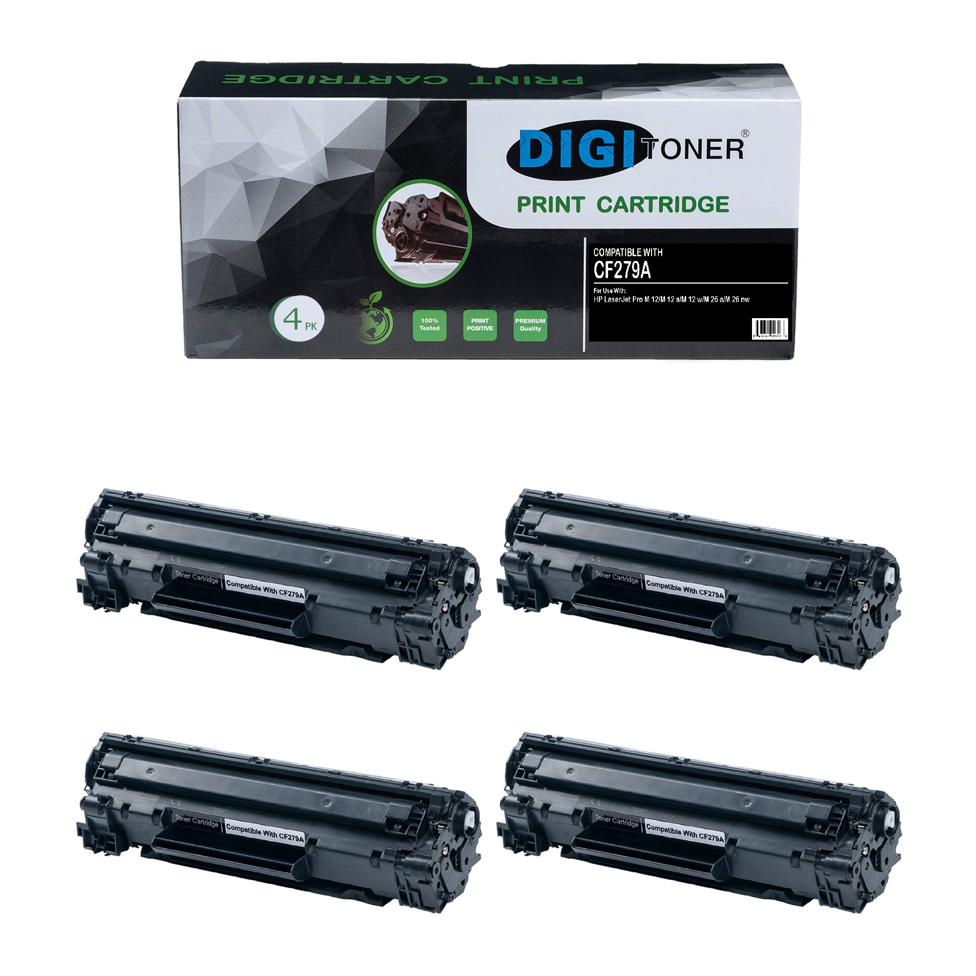 DIGITONER Compatible HP 79 HP 79A HP CF279A Toner Cartridge HP– CF279A High Yield Toner Cartridge Replacement for HP Laser Printer Laserjet Pro M12w M12a MFP M26a M26nw – Black [4 Pack]