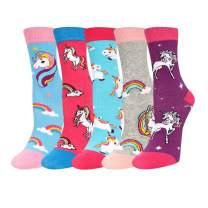 Zmart 5 Pack Girls Crazy Cute Animal Unicorn Food Socks, Flamingo Llama Mermaid with Gift Box