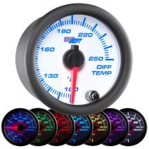 """GlowShift White 7 Color 250 F Rear Differential Temperature Gauge Kit - Includes Electronic Sensor - White Dial - Clear Lens - for Car & Truck - 2-1/16"""" 52mm"""