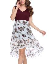 ACEVOG Womes' Casual Swing Patchwork Floral A-Line Midi Chiffon Dress