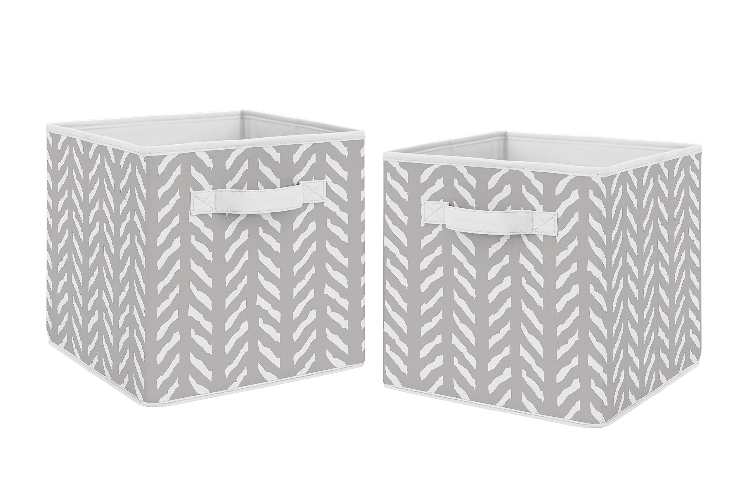 Sweet Jojo Designs Grey and White Boho Herringbone Arrow Unisex Boy or Girl Foldable Fabric Storage Cube Bins Boxes Organizer Toys Kids Baby Childrens for Gray Woodland Forest Friends Collection