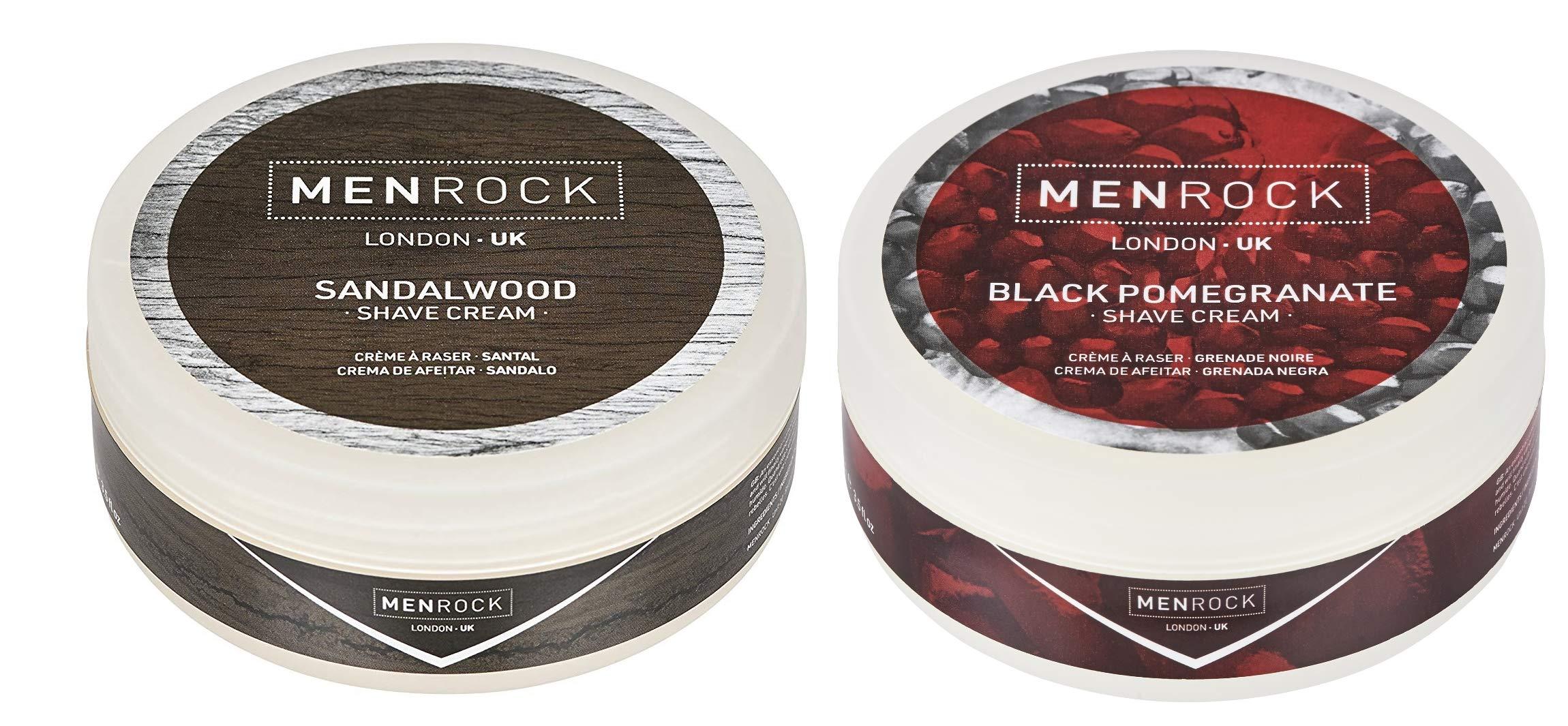 Men Rock Sandalwood Shaving Cream and Black Pomegranate Shave Cream - Non Aerosol Shaving Cream, Premium Shaving Sensitive Skin, Moisturizing Shaving Cream for Men - Shaving Cream 2 Pack, 3.4 Oz.