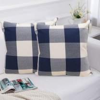 laqula Throw Pillow Covers - 18 x 18 Inch Set of 2 Soft Linen Fabric Buffalo Check Plaid Cushion Pillowcases with Hidden Zipper for Home Sofa Bed Car Decor (Plaid Blue White)