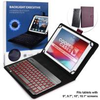 Cooper Backlight Executive Keyboard Case for 9'', 10'', 10.1'' inch Tablets   2-in-1 Bluetooth Wireless Backlit Keyboard, 7 Color Keys (Purple)
