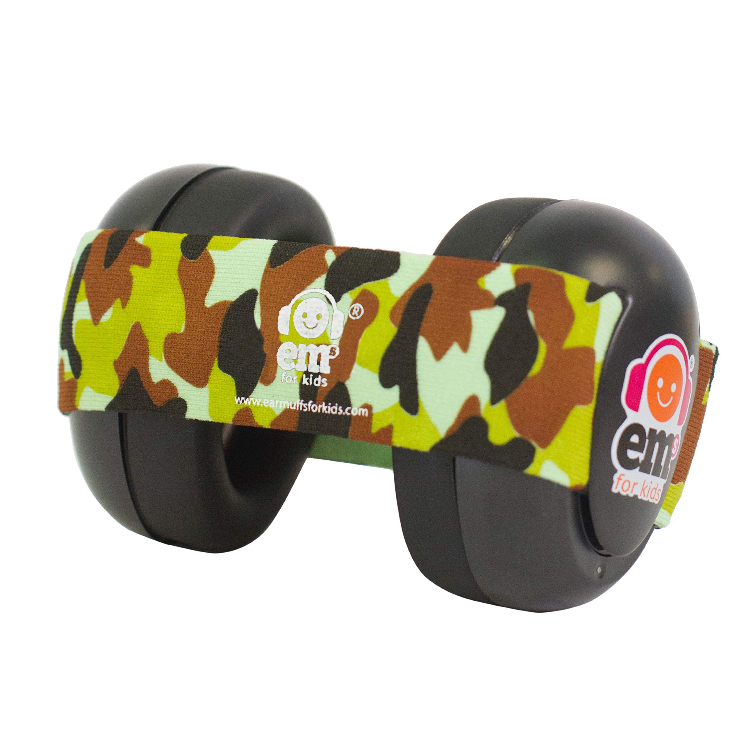 Ems for Kids Baby Earmuffs - Black with Army Camo. Made in The U.S.A! The Original and ONLY Earmuffs Designed specifically for Babies Since 2009
