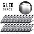 """Partsam White 3.8""""Clearance light Trailer Truck RV Boat Side Marker Indicators Decorative Clear Lens (Pack of 20)"""