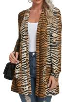 QIXING Women's Casual Leopard Printed Cardigans Long Sleeve Cover Up with Pockets