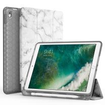 """SWEES Compatible for iPad Air (3rd Gen) 10.5"""" 2019 / iPad Pro 10.5 2017 Case, Slim Full Body Protective Smart Cover Leather Case Shockproof with Stand Built-in Apple Pencil Holder, Marble"""