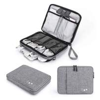 Cable Organizer Bag, Jelly Comb Electronics Organizer Travel Accessories Cord Organizer Cable Storage Bag for Charging Cable, Power Bank, Tablet (Up to 11'')and More-(Black and Gray)
