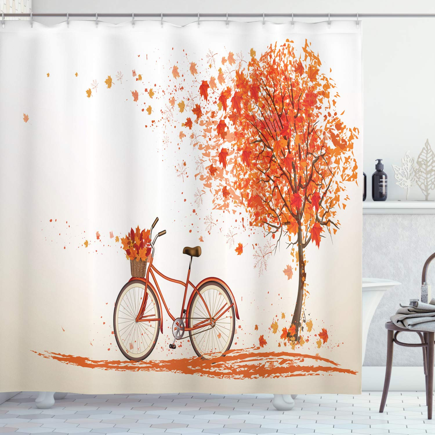"""Ambesonne Bicycle Shower Curtain, Autumn Tree with Aged Old Bike and Fall Tree November Day Fall Season Park Nature Theme, Cloth Fabric Bathroom Decor Set with Hooks, 70"""" Long, Orange"""