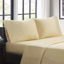 """Intelligent Design Microfiber Wrinkle Resistant, Soft Sheets with 12"""" Pocket Modern, All Season, Cozy Bedding-Set, Matching Pillow Case, Twin, Chevron Yellow 3 Piece"""