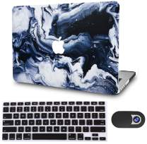 """KECC Laptop Case for MacBook Air 13"""" Retina (2020/2019/2018, Touch ID) w/Keyboard Cover + Webcam Cover Plastic Hard Shell A2179/A1932 3 in 1 Bundle (Black Grey Marble)"""