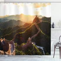 """Ambesonne Historical Shower Curtain, Historical Structure at Sunset Time with Hazy Mystic Image Print, Cloth Fabric Bathroom Decor Set with Hooks, 70"""" Long, Yellow Green"""