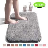 "Bathroom Rug Non Slip Bath Mat for Bathroom Water Absorbent Soft Microfiber Shaggy Bathroom Mat Machine Washable Bath Rug for Bathroom Thick Plush Rugs for Shower - Grey, 16""x24"""