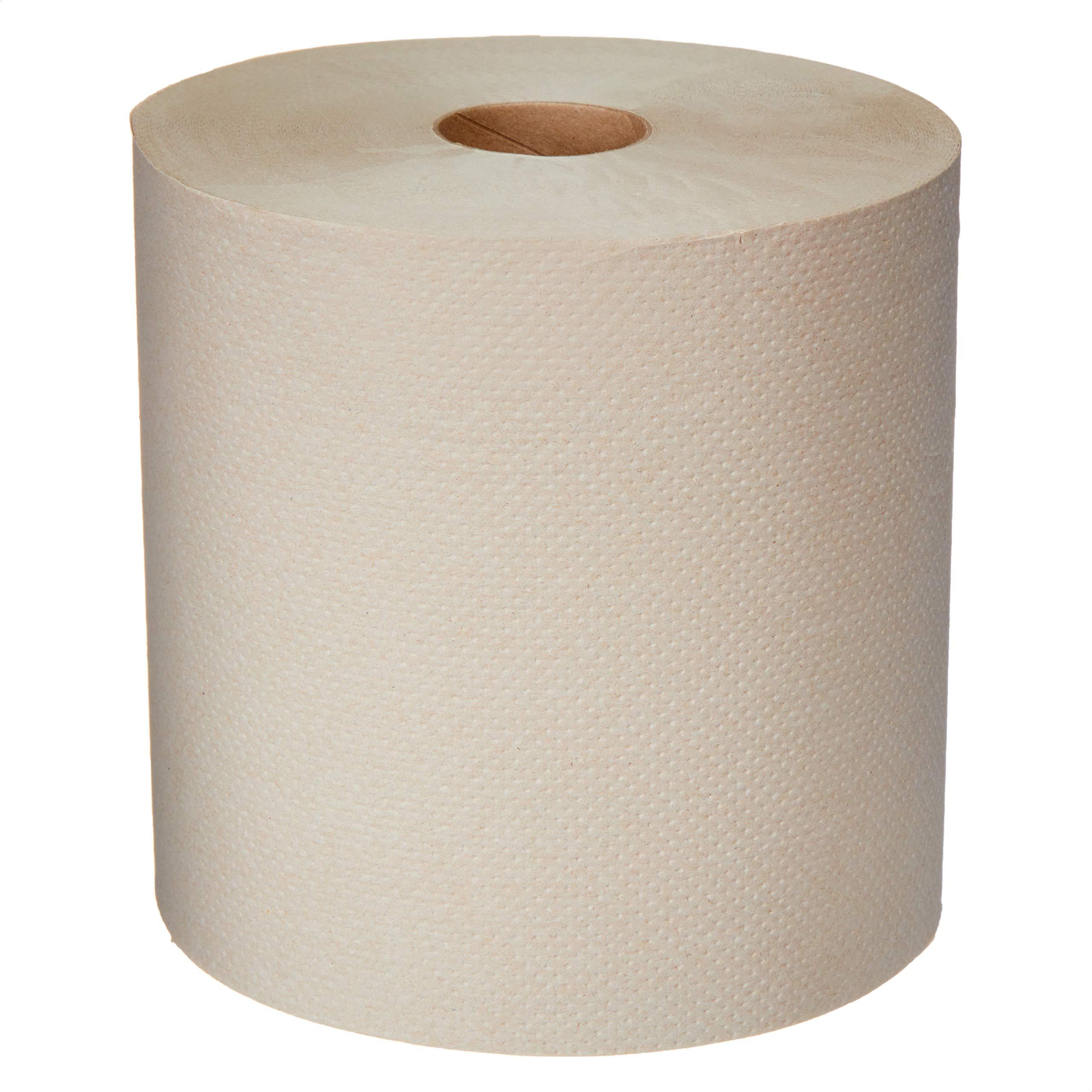 AmazonCommercial Kraft Hard Roll Towels, 800' per Roll, 12 Rolls