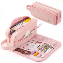 EASTHILL Large Pencil Case Canvas Storage Pouch Handheld Durable Pen Bag Stationery Zipper Pouch for Middle High School Office College Teen(Pink)