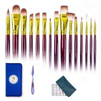 Paint Brushes Set 15 Different Sizes with Carrying Case for Acrylic, Watercolor and Oil Paint, Painting Knife & Paint Palette with Lid - Paintbrushes Gift for Artist, Kids, Beginners & Professionals