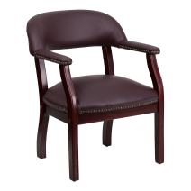 Flash Furniture Burgundy Leather Conference Chair with Accent Nail Trim