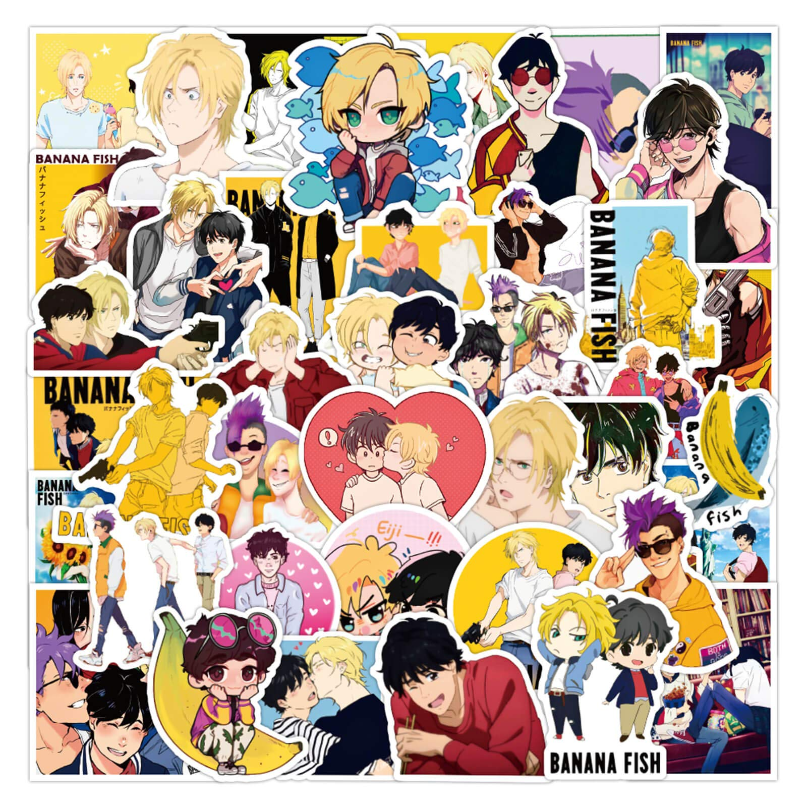 Cute Anime Stickers Banana Fish Stickers 50PCS Waterproof Vinyl Decals for Water Bottle Japanese Anime Decals Decor for Laptop, Luggage, Skateboard, Guitar Trendy Stickers Graffiti Patches
