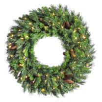"Vickerman 30"" Cheyenne Pine Artifical Christmas Wreath - Warm White LED lights"