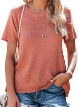 BLENCOT Women's Lightweight Knit Crewneck Short Sleeve Tops Casual Soft Blouse Shirts
