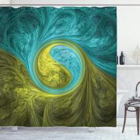 """Ambesonne Spires Shower Curtain, Eastern Spiral Psychedelic Design with Sunny Side Design, Cloth Fabric Bathroom Decor Set with Hooks, 84"""" Long Extra, Khaki Teal"""