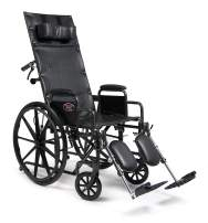 "Everest & Jennings Advantage Reclining Wheelchair, Fixed Full Arms & Elevating Legrests, 20"" Seat, Silvervein Color"