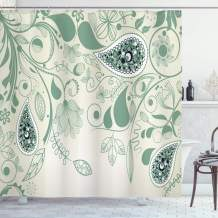 """Ambesonne Paisley Shower Curtain, Vintage Aged Floral Paisley Patterns on Retro Art Background in Persian Style, Cloth Fabric Bathroom Decor Set with Hooks, 75"""" Long, Laurel Green"""
