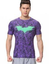 Red Plume Men's Fitness Shirt Sonic Compression Short Sleeve Sports Bat T-Shirt