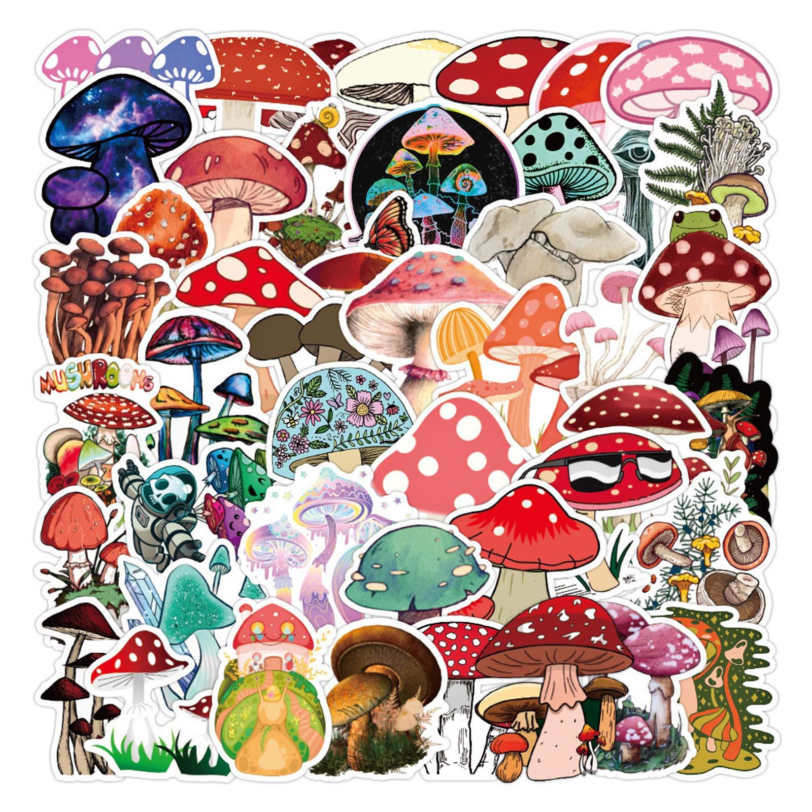 Mushroom Stickers  50 PCS   Vinyl Waterproof Stickers for Laptop,Skateboard,Water Bottles,Computer,Phone,Guitar,Bat Stickers for Kids Adult (Mushroom Stickers)
