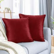 """Nestl Bedding Throw Pillow Cover 16"""" x 16"""" Soft Square Decorative Throw Pillow Covers Cozy Velvet Cushion Case for Sofa Couch Bedroom, Set of 2, Cherry Red"""