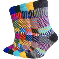 Wool Socks for Women 5 Pack-Hiker Winter Soft Thick Warm Boot Cozy Crew Socks